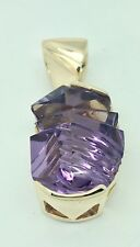 New Custom, One of a Kind 14K Yellow Gold and Fancy Cut Amethyst Pendant