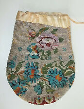 ANTIQUE Glass MICRO BEADED Evening Bag Flapper Roses & Morning Glories Pre 1920