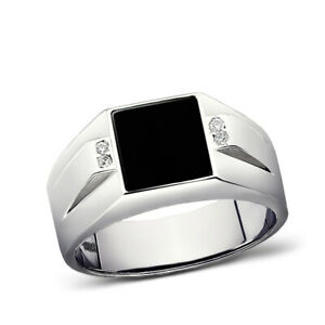 Real 925 Solid Sterling Silver Square Black Onyx Ring For Men with 4 Diamonds
