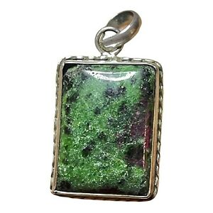 Lovely Vintage Ruby In Zoisite Polished Stone Set In Sterling Silver Pendant