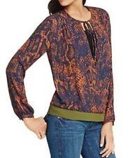 CAbi #101 Size M Border Wrap Snake Skin Print Navy-rust Blouse Polyester