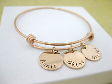 Personalised Rose Gold Tone Bangle Bracelet Handstamped 3, 4 or 5 Name Discs