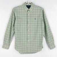 Ralph Lauren Mens Oxford Shirt Green Blue Plaid Long Sleeves Custom Fit L