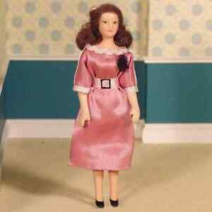DOLLS HOUSE DOLL 1/12th SCALE MODERN WOMAN  IN  PINK SATIN DRESS