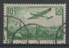 "FRANCE STAMP AERIEN N° 14a "" AVION SURVOLANT PARIS 50F VERT "" OBLITERE TTB  N944"
