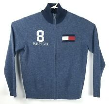 Tommy Hilfiger Lambswool Men's M Big Flag Spell Out Logo Full Zip Cardigan EUC