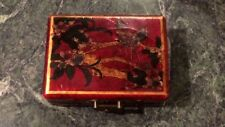 Antique Chinese Red Lacquered Box beautifully decorated with birds & foliage