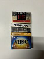 Blank Audio Cassette Tape Lot Of 3 All Sealed 2 cassettes tapes and 1 vhs c
