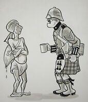 India Independence Original Cartoon Art Bhishti British Army Highlander 1940-50s