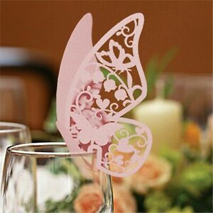 Butterfly Wedding Name Place Card For Party Wine Glass Table Confetti Decoration