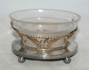 Antique Art Nouveau Hukin & Heath Etched Glass Bon Bon Dish On Silver Plate Base