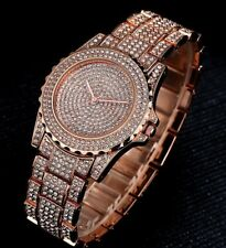 18ct Iced Out Rose Gold Diamond Hip Hop  Watch Mens