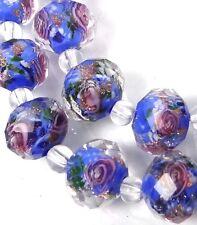14 Czech Glass Faceted Rondelle Beads - Blue Violet Encased Rose Flower 11x8mm