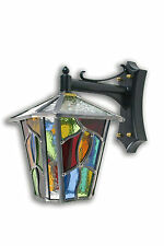 LEADED LANTERN OUTDOOR WALL LIGHT MULTI-COLOUR STAINED GLASS HAND MADE TL14DCMC