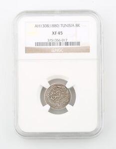 1880 Tunisia 8 Kharub Silver Coin Slabbed XF 45 NGC Extra Fine KM 181 AH 1308