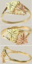 Handcrafted South Dakota Black Hills 12k Red Green Gold Leaf Ring Queen of Sheba