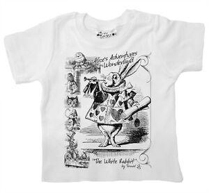 "Alice Wonderland Baby T-shirt ""The White Rabbit"" John Tenniel Design Tee Clothes"