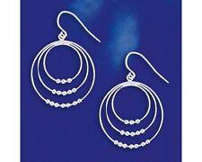 Sterling Silver Triple Hoop Circle Bead Hinged Earrings Dangle Italian Solid 925