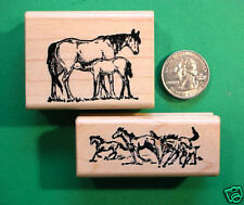 Horse Life Rubber Stamps, Two Wood Mounted