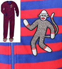 Classic Striped Sock Monkey Footed Pajamas Costume 1 PC NWT M L XL or XXL GIFT