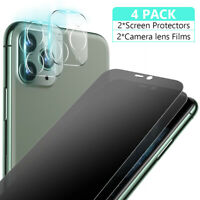 For iPhone 11 Pro Max Anti-Spy Privacy Glass Screen Protector Camera Lens Flim