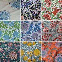 Indian Loose Swing Dressmaking Cotton Fabric Print Hand Block Natural Running