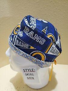 L A Rams (pennant) NFL Men's Skull/Chemo Surgical Scrub Hat/Cap Handmade