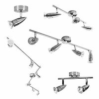 1 2 3 4 or 6 Light Chrome/Brushed Steel GU10 Spot Bar Ceiling Spotlight Fitting