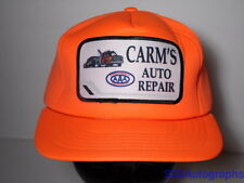 Vintage 1980s AAA Advertising CARM's AUTO REPAIR Patch Snapback Neon Orange Hat