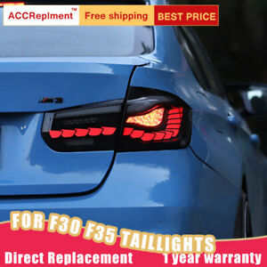For BMW 3 Series F30 F35 LED Taillight Assembly Dark/Red LED Rear Lamp 2012-2018
