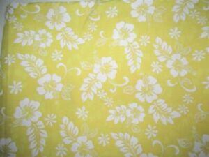 3 1/4 YD VTG TIKI YELLOW TROPICAL WHITE FLOWER COTTON FABRIC 45W CRAFT DECOR SEW