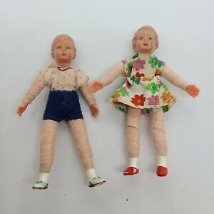 """3.5""""  Vintage Caco Miniature Doll House Poseable Little Boy & Girl Germany"""