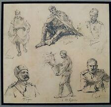 Fine Vintage World War Ii Russian Art Drawing, Original Life Sketches - Soldiers