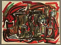 Unique Vintage Red Black Green Abstract Shapes Painting Modern Art Armstrong