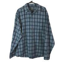 Woolrich Button Up Shirt Mens XL Blue Plaid Long Sleeve 100% Cotton Euc