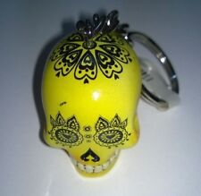 Skull Head Keyring Keychain  3D Candy Skull Day Of The Dead  Yellow New