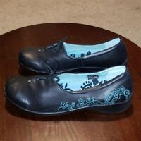Aetrex Barbara Loafers Womens Size 11 M Black Leather Lace Up