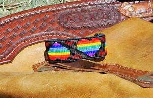 Rainbow Hearts! Awesome handmade on loom woven cuff bracelet