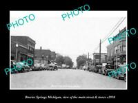 OLD LARGE HISTORIC PHOTO OF BARRIER SPRINGS MICHIGAN, THE MAIN ST & STORES c1950