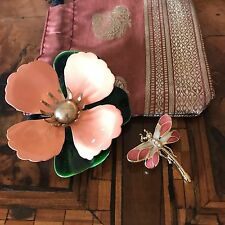 Sarah Coventry Flower & Dragonfly Brooch 2 Spille Fiore e Libellula Vintage