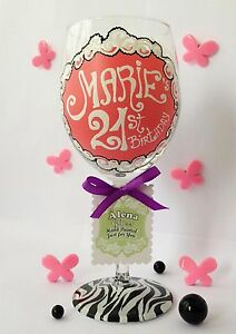Personalised Hand Painted Wine Glass birthday party 30th 18th 21st wedding hen .