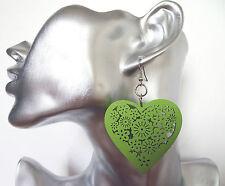 Fab Lightweight Heart Wooden Dangle Earrings Flower Design in Green 5 cms Drop