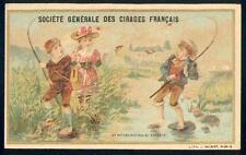 Chromo Cirages français Pêche Pêcheur scène enfantine fishing
