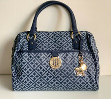 NEW! TOMMY HILFIGER BLUE SIGNATURE LOGO BOWLER DOCTOR SATCHEL BAG $85 SALE