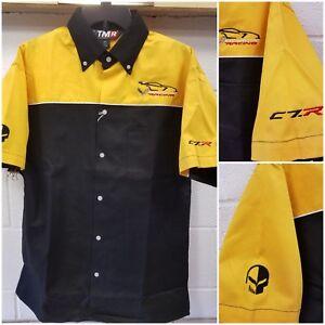 Corvette C7R Racing Garage Pit Crew Button-up Shirt Black/Yellow Buds Chevrolet