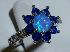 FORGET ME NOT BLUE FIRE OPAL AND BLUE SAPPHIRE SILVER FILLED RING SZ 7 GIFT