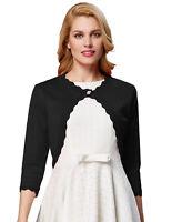 USA Women's Cardigan 3/4 Sleeve Open Front Cropped Mini Office Work Bolero Shrug