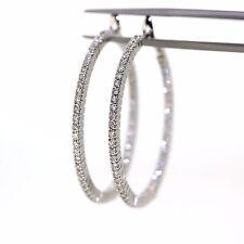 Modern 18k White gold Natural VS-1 Diamond Fancy large Hoop earrings 37mm .98ctw