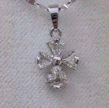 Diamond Cross Pendant 100% Natural White Gold 14K 0.75 Carat 0.65 Gram Amazing!