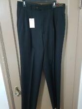 Men's blakes Lanificio A. Rodina Black  Pleated worsted Wool Pants Sz 34